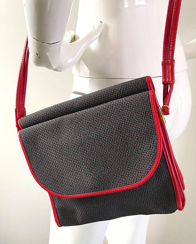 Vintage Yves Saint Laurent Waxed Canvas Leather Crossbody YSL Shoulder Bag For Sale 2