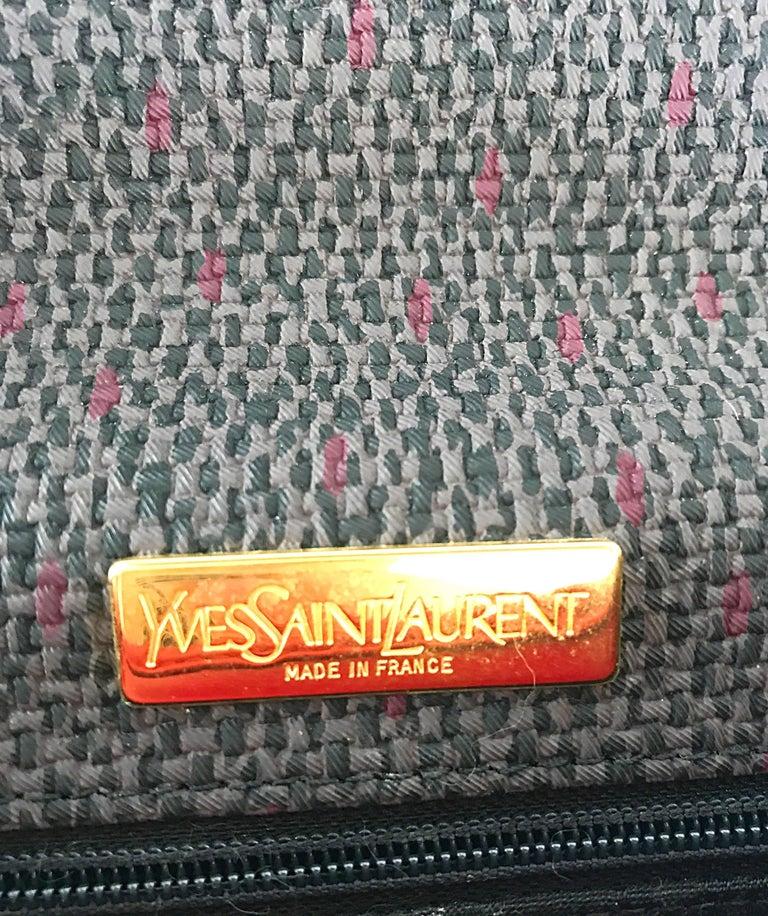 Vintage Yves Saint Laurent Waxed Canvas Leather Crossbody YSL Shoulder Bag For Sale 4