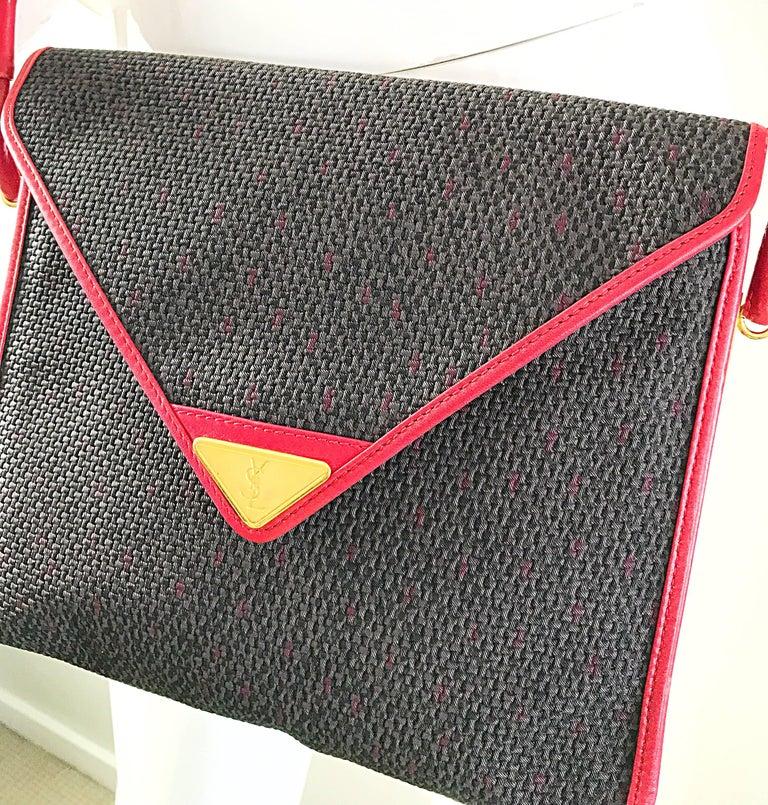 Vintage Yves Saint Laurent Waxed Canvas Leather Crossbody YSL Shoulder Bag For Sale 5
