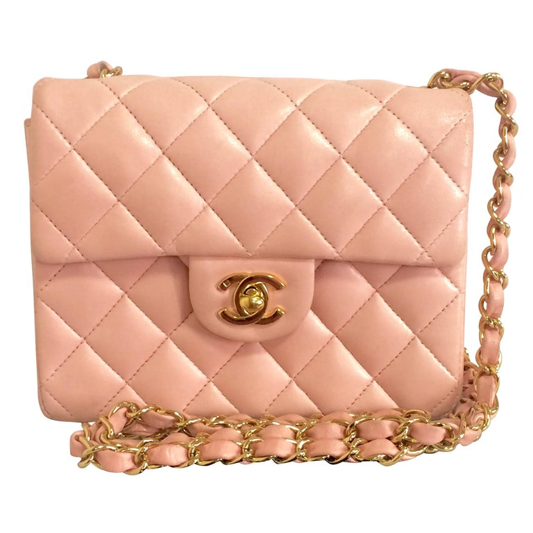 Vintage CHANEL pink lamb leather classic flap chain mini 2.55 shoulder bag.