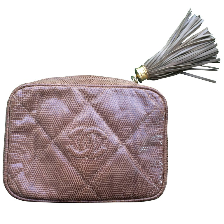 Vintage CHANEL brown lizard camera bag type clutch bag with fringe and CC mark.