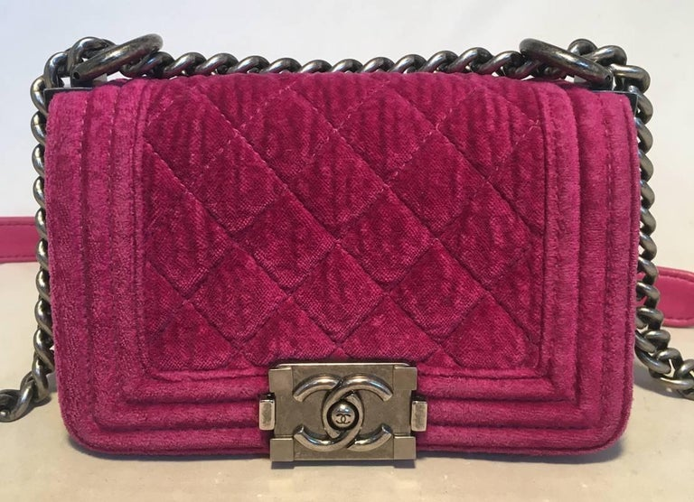 Brown Chanel Magenta Velvet Extra Mini Classic Le Boy Flap Bag For Sale