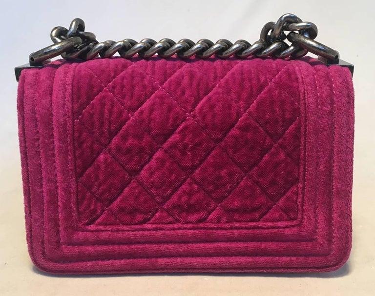 Chanel Magenta Velvet Extra Mini Classic Le Boy Flap Bag 5