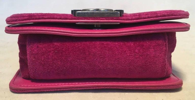 Chanel Magenta Velvet Extra Mini Classic Le Boy Flap Bag 6