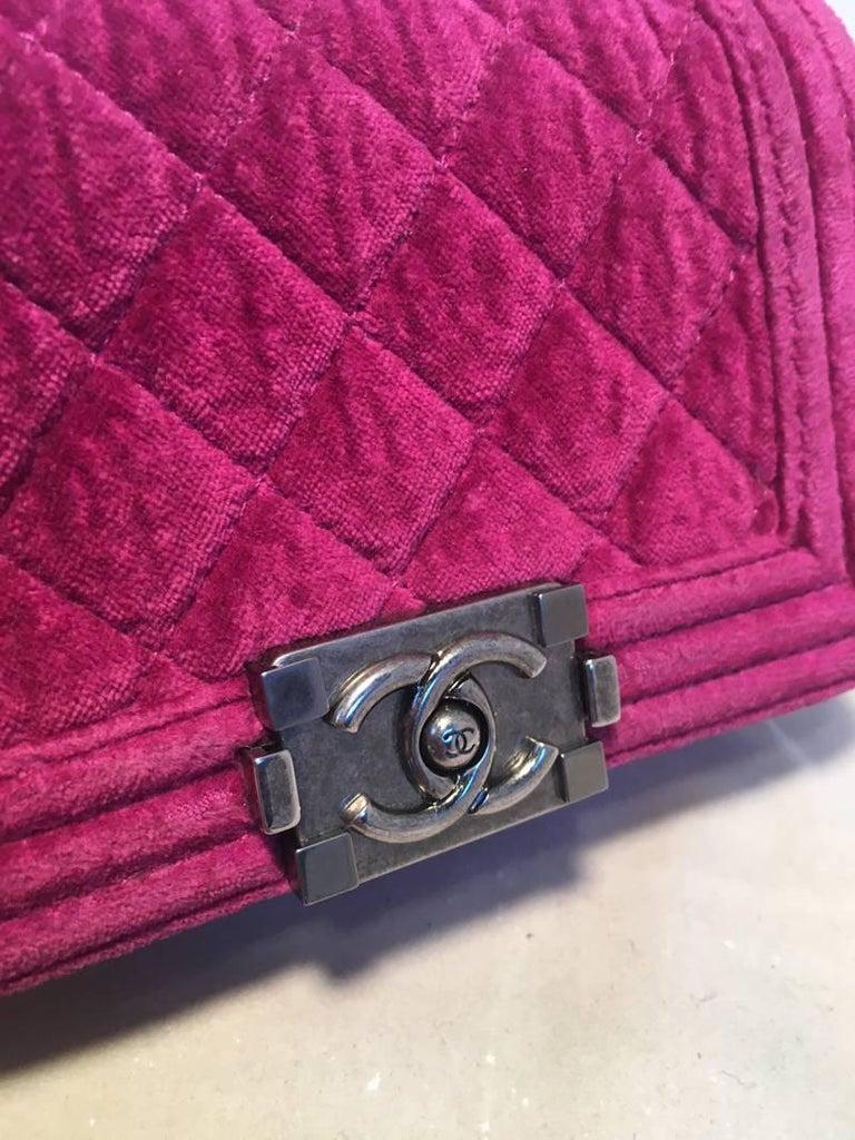 Chanel Magenta Velvet Extra Mini Classic Le Boy Flap Bag 7