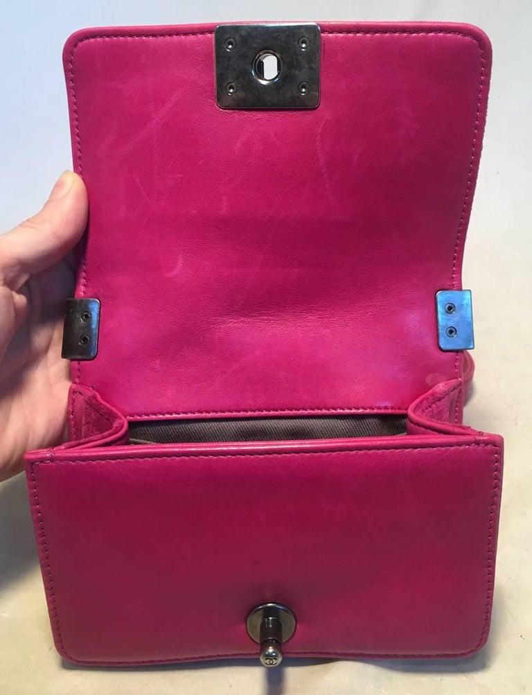 Chanel Magenta Velvet Extra Mini Classic Le Boy Flap Bag 8
