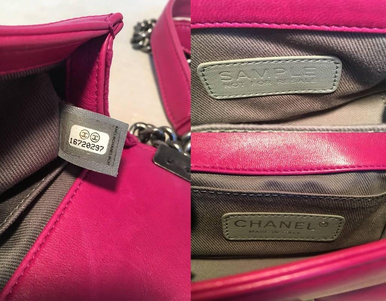 Chanel Magenta Velvet Extra Mini Classic Le Boy Flap Bag 10