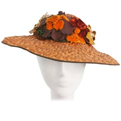 1930s Wide Brimmed Hat w/ Velvet Flowers