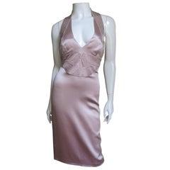 Versace Blush Beaded Silk Halter
