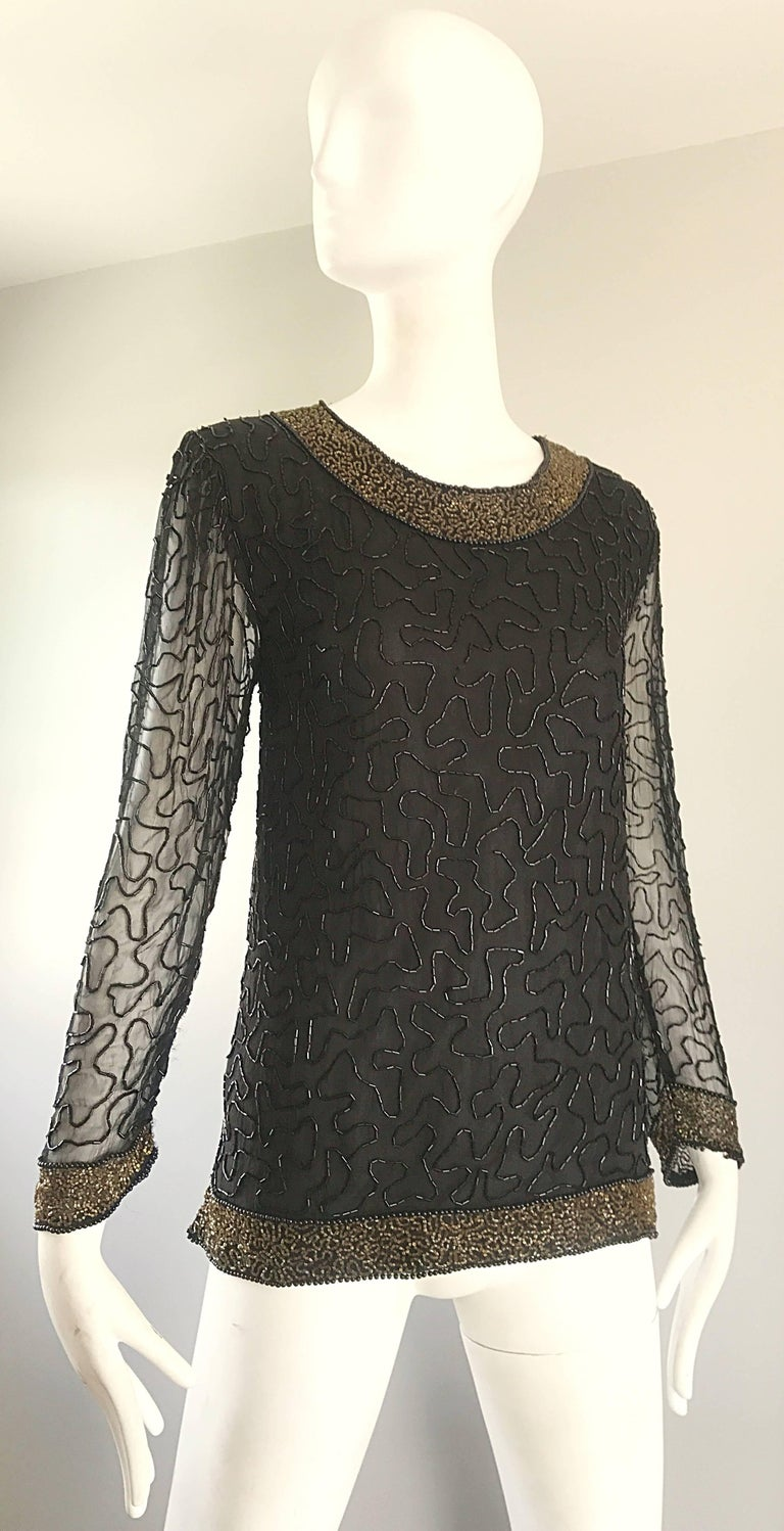 Stunning Swee Lo 1980s Black + Gold Silk Chiffon Beaded Vintage 80s Blouse Top In Excellent Condition For Sale In Chicago, IL