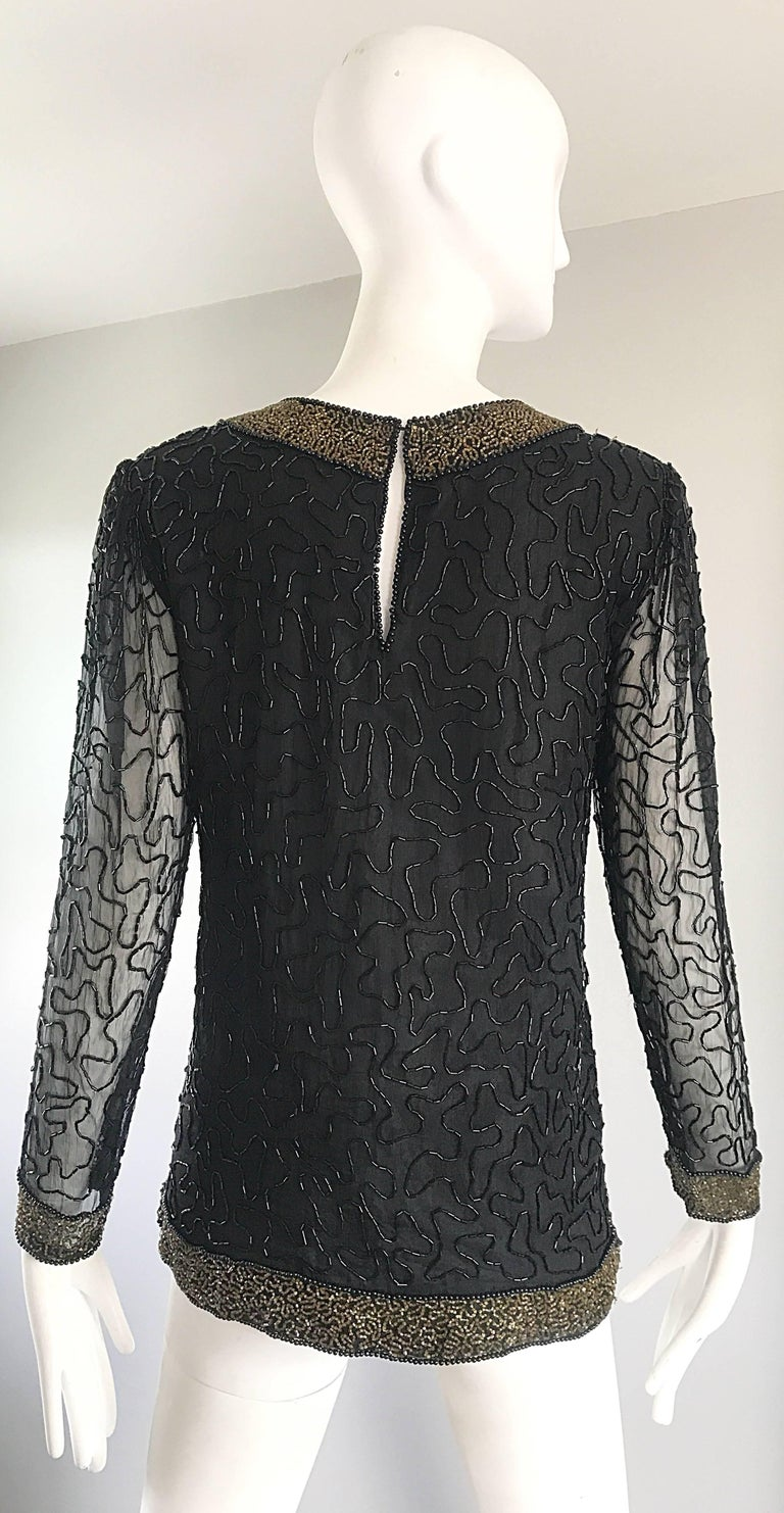 Women's Stunning Swee Lo 1980s Black + Gold Silk Chiffon Beaded Vintage 80s Blouse Top For Sale