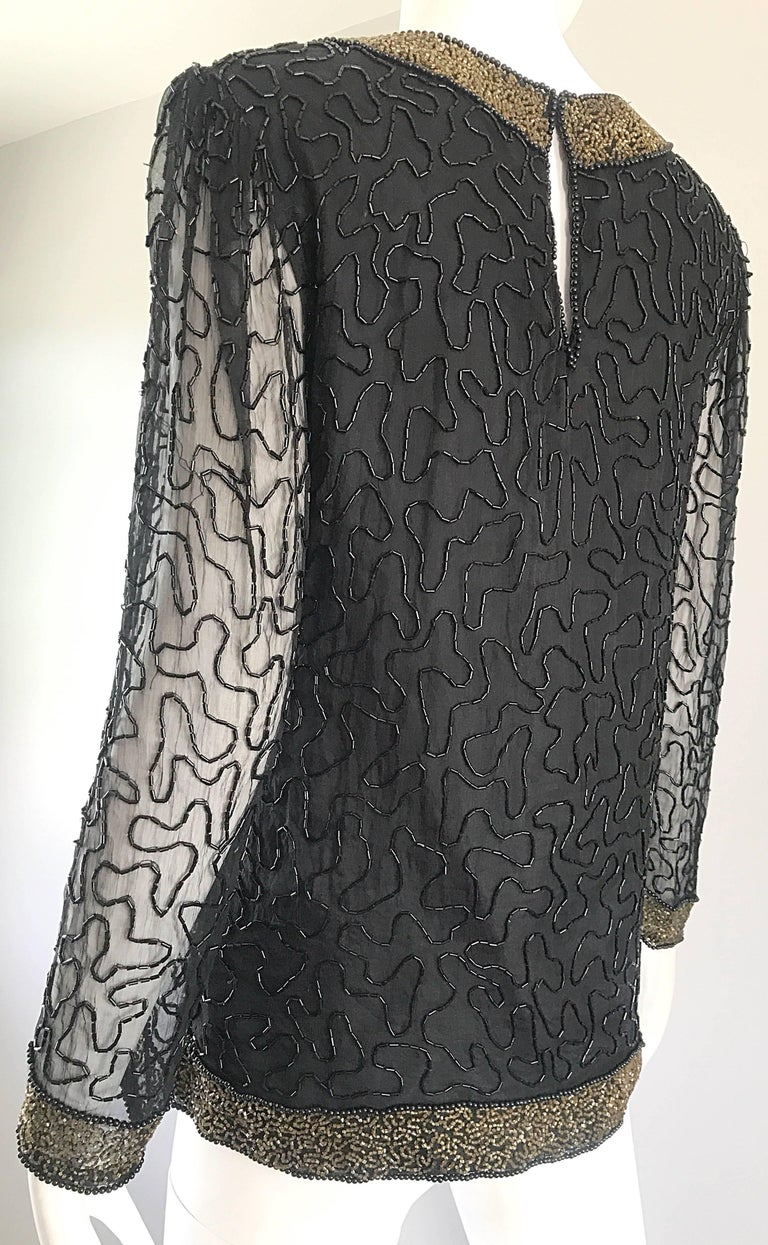 Stunning Swee Lo 1980s Black + Gold Silk Chiffon Beaded Vintage 80s Blouse Top For Sale 1