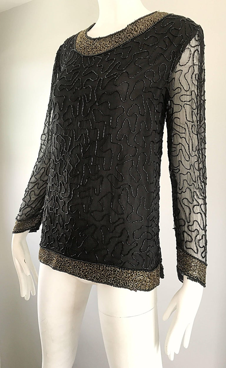 Stunning Swee Lo 1980s Black + Gold Silk Chiffon Beaded Vintage 80s Blouse Top For Sale 2