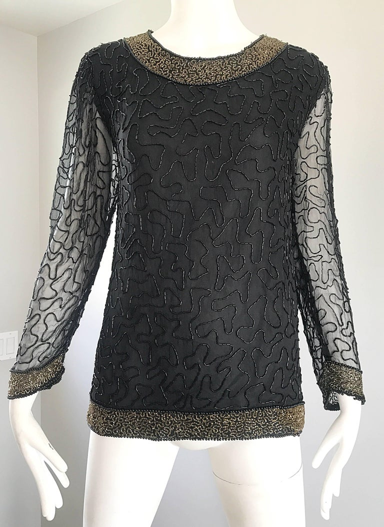 Stunning Swee Lo 1980s Black + Gold Silk Chiffon Beaded Vintage 80s Blouse Top For Sale 3