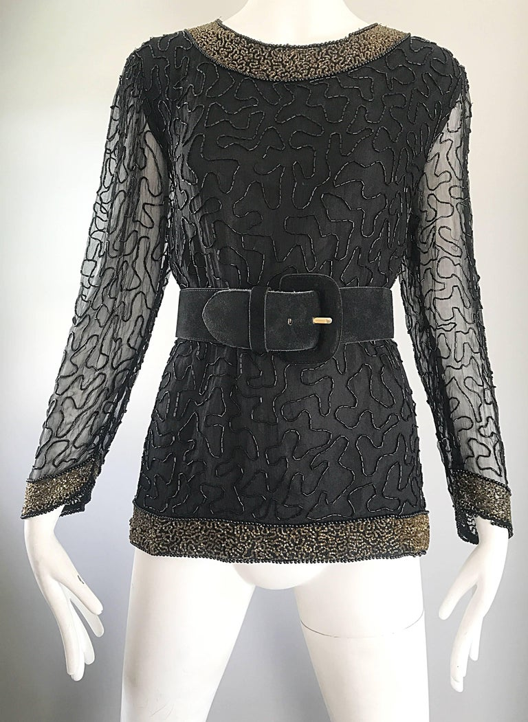Stunning Swee Lo 1980s Black + Gold Silk Chiffon Beaded Vintage 80s Blouse Top For Sale 4