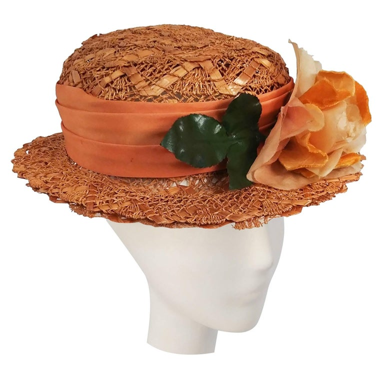 1930s Orange Straw Hat w/ Flower