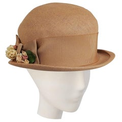 1930s Woven Straw Hat w/ Wide Ribbon