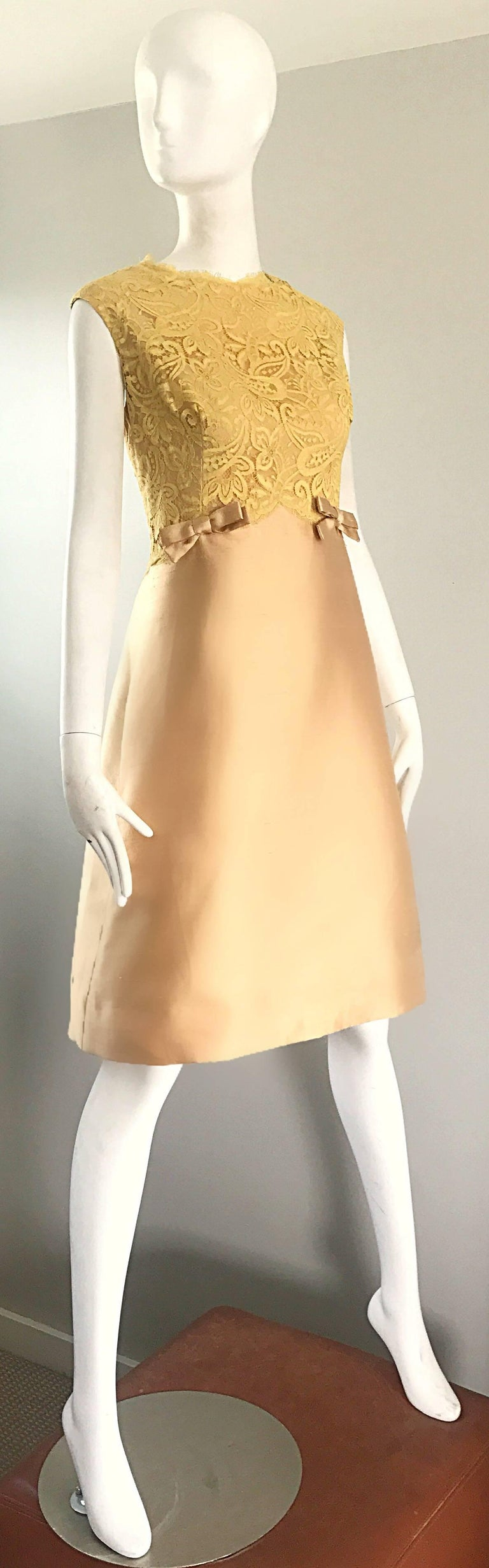 1960s Rappi Demi Couture Gold + Yellow Silk Shantung + Lace Vintage A Line Dress In Excellent Condition In Chicago, IL