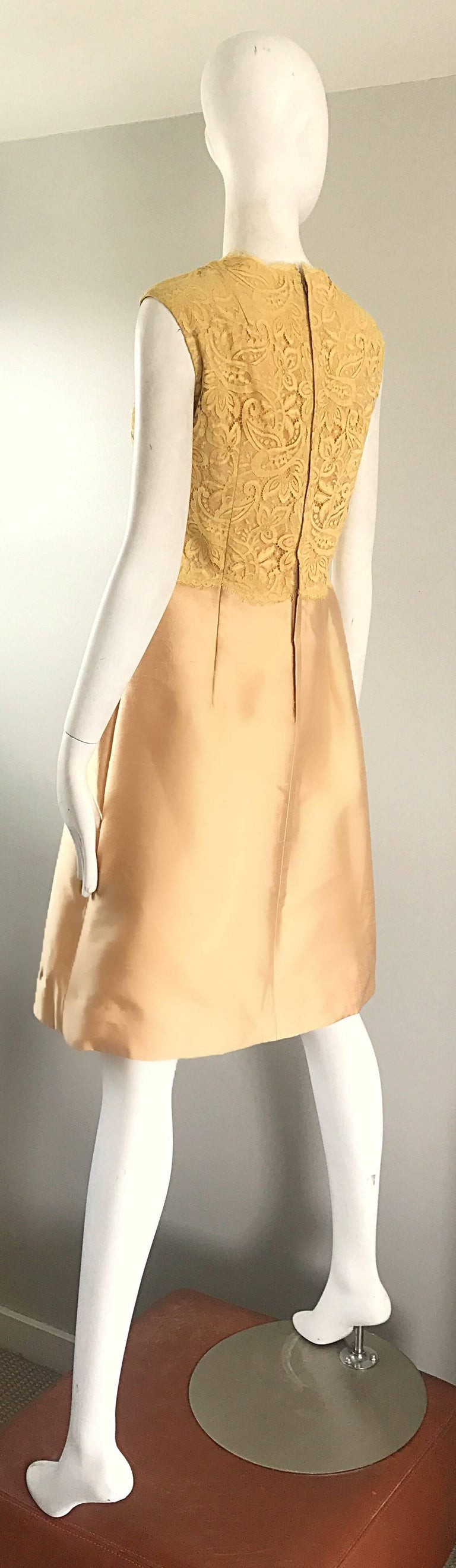 Women's 1960s Rappi Demi Couture Gold + Yellow Silk Shantung + Lace Vintage A Line Dress