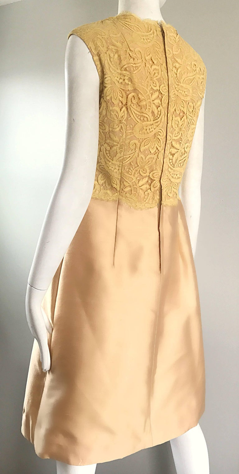 1960s Rappi Demi Couture Gold + Yellow Silk Shantung + Lace Vintage A Line Dress 1