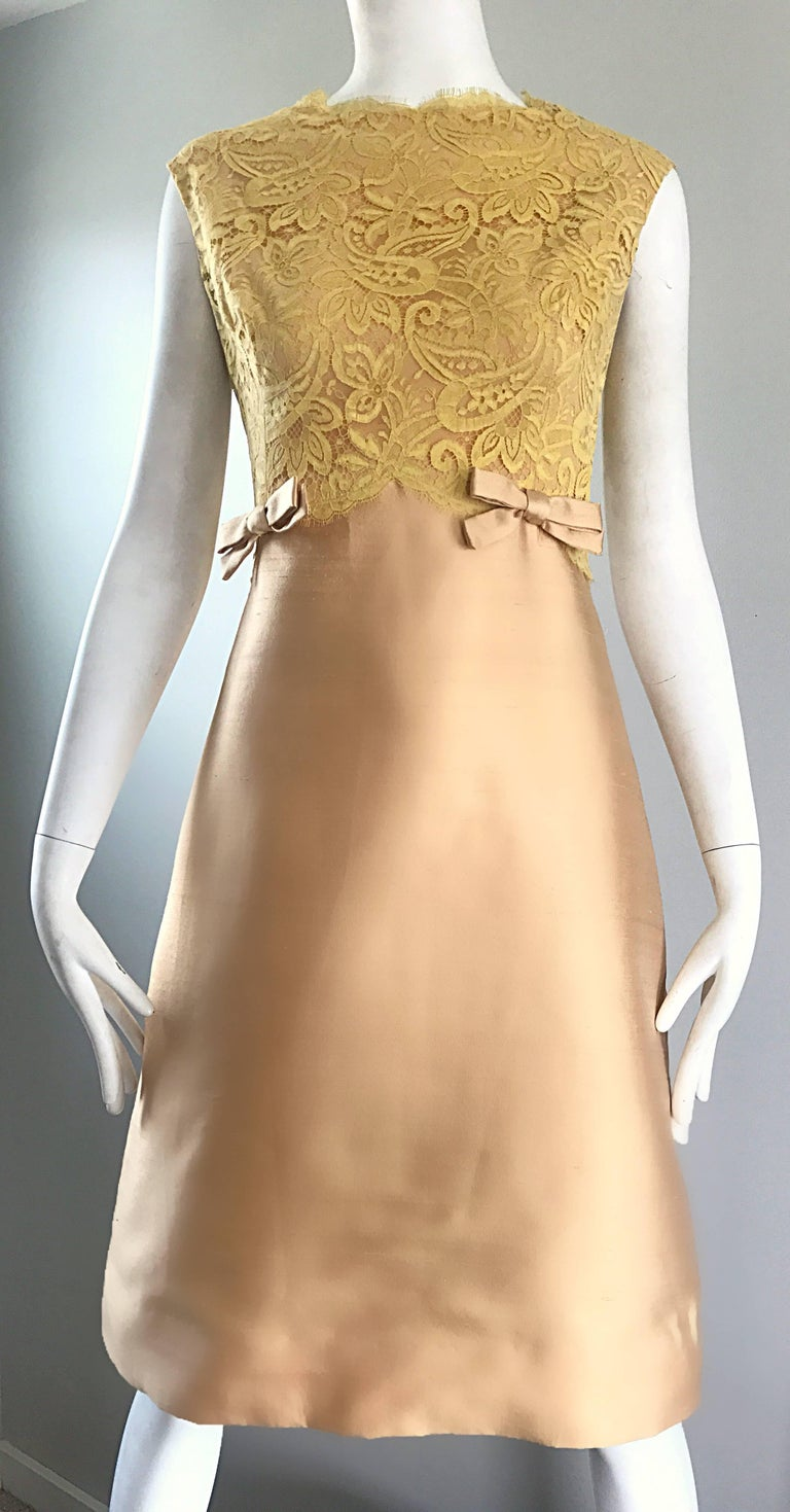 1960s Rappi Demi Couture Gold + Yellow Silk Shantung + Lace Vintage A Line Dress 3