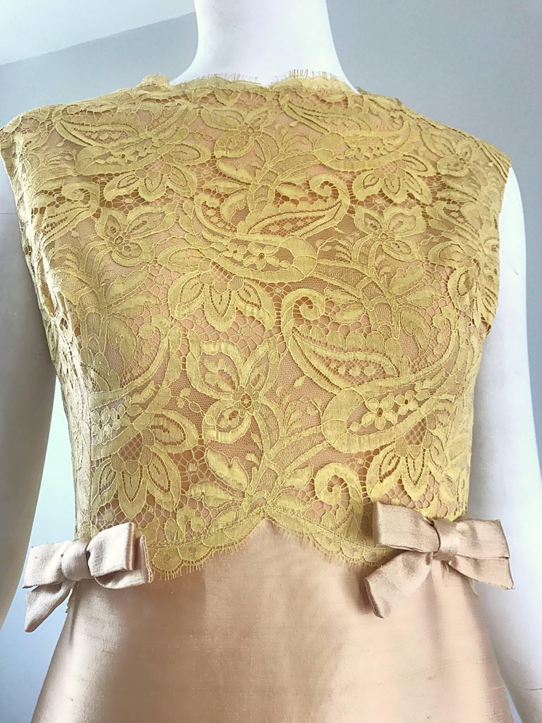 1960s Rappi Demi Couture Gold + Yellow Silk Shantung + Lace Vintage A Line Dress 5