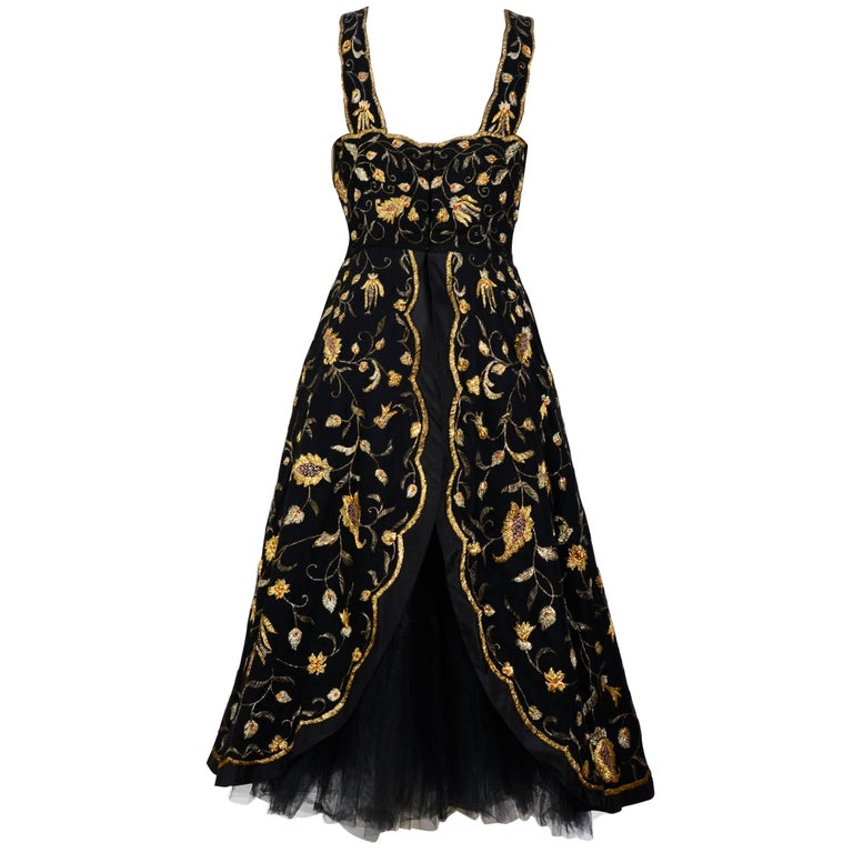 Black Cristobal Balenciaga numbered documented museum-worthy dress beaded by Rebe 1953 For Sale