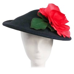 1950s Woven Navy Hat w/ Rose