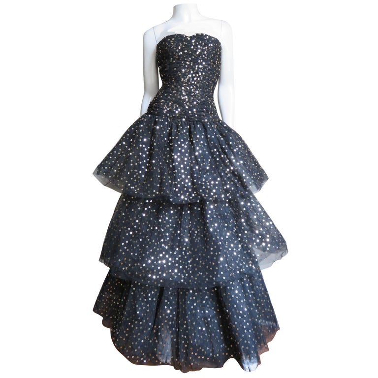 1980s Arnold Scaasi Couture Sequin Tulle Gown & Wrap