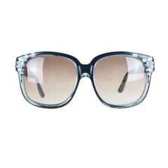 Emmanuelle Khanh Oversized Blue Black Model 8080 Sunglasses, 1970s
