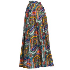 1970s Yves Saint Laurent High Waist Cotton Paisley Peasant Maxi Skirt