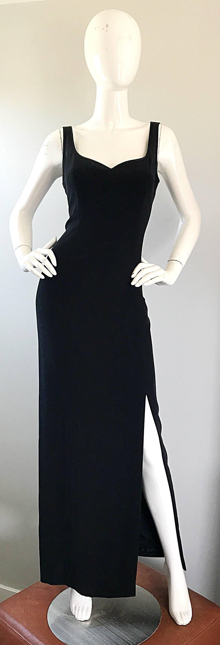 1990s Bob Mackie Size 10 Black Crepe Sexy 90s Vintage High Slit Evening Gown  For Sale 2