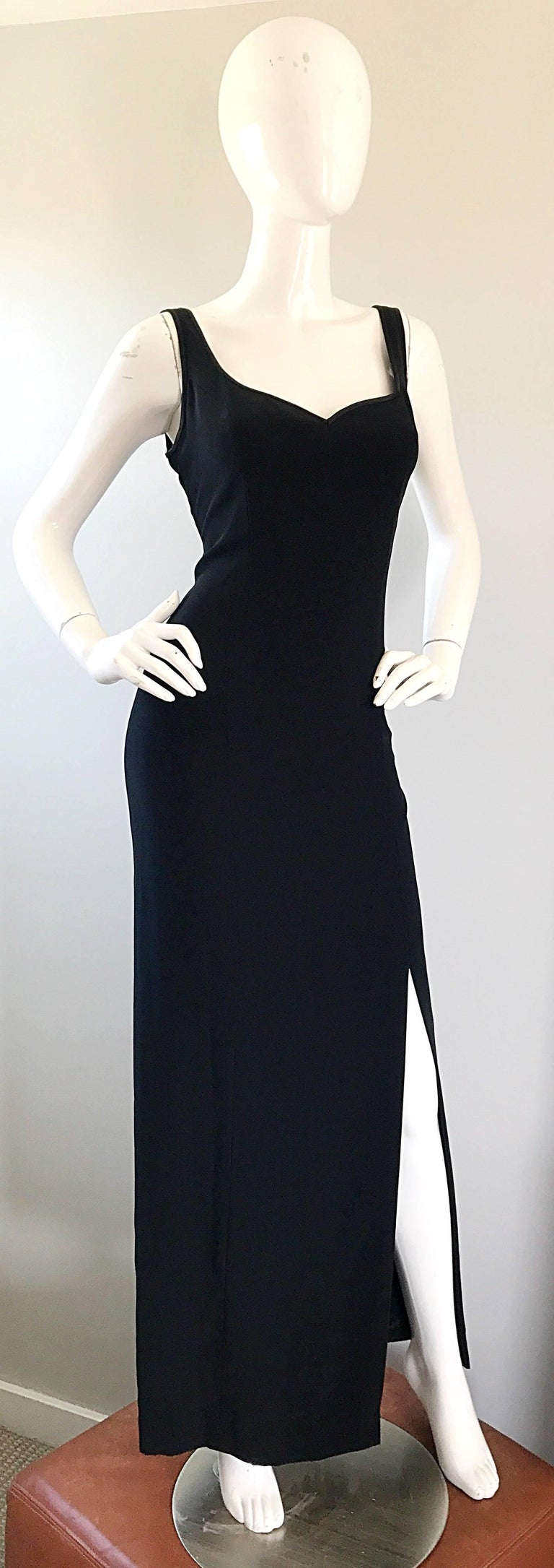 1990s Bob Mackie Size 10 Black Crepe Sexy 90s Vintage High Slit Evening Gown  For Sale 4