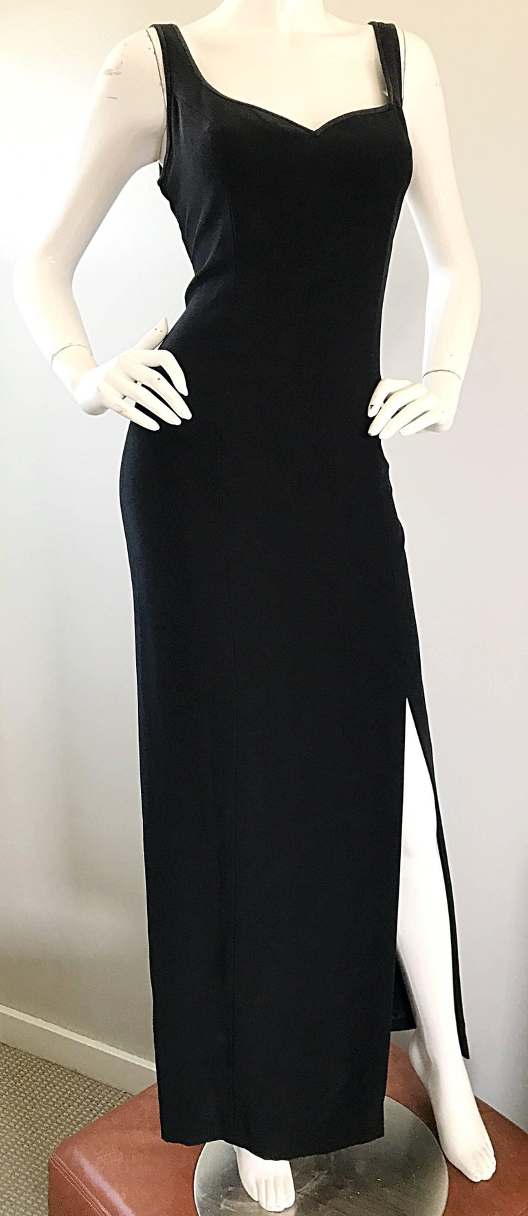 1990s Bob Mackie Size 10 Black Crepe Sexy 90s Vintage High Slit Evening Gown  For Sale 5