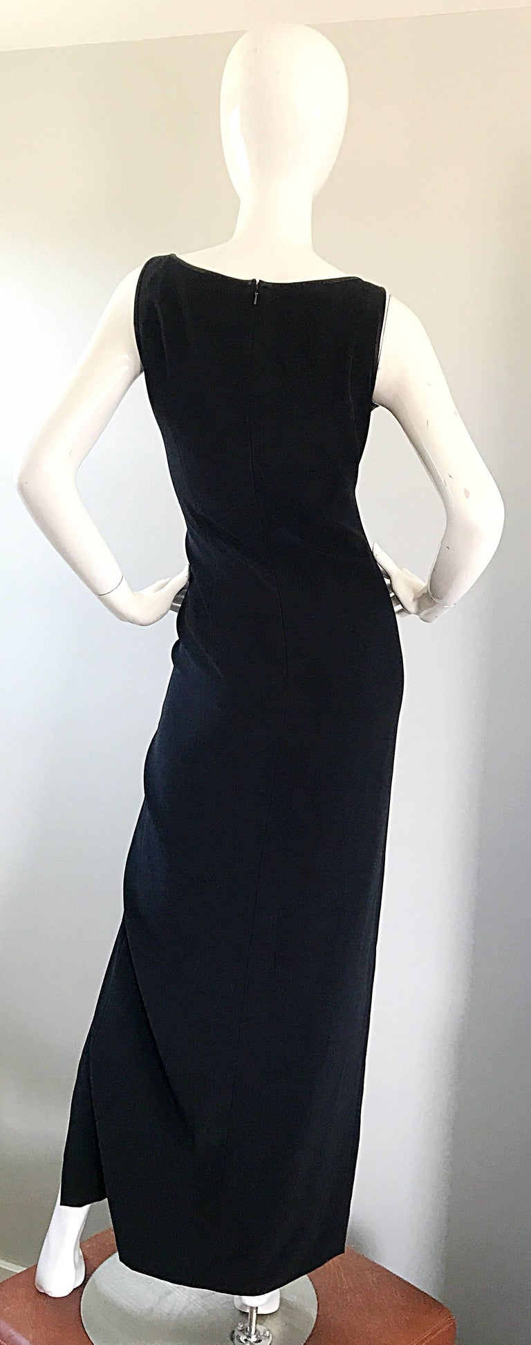 1990s Bob Mackie Size 10 Black Crepe Sexy 90s Vintage High Slit Evening Gown  For Sale 6