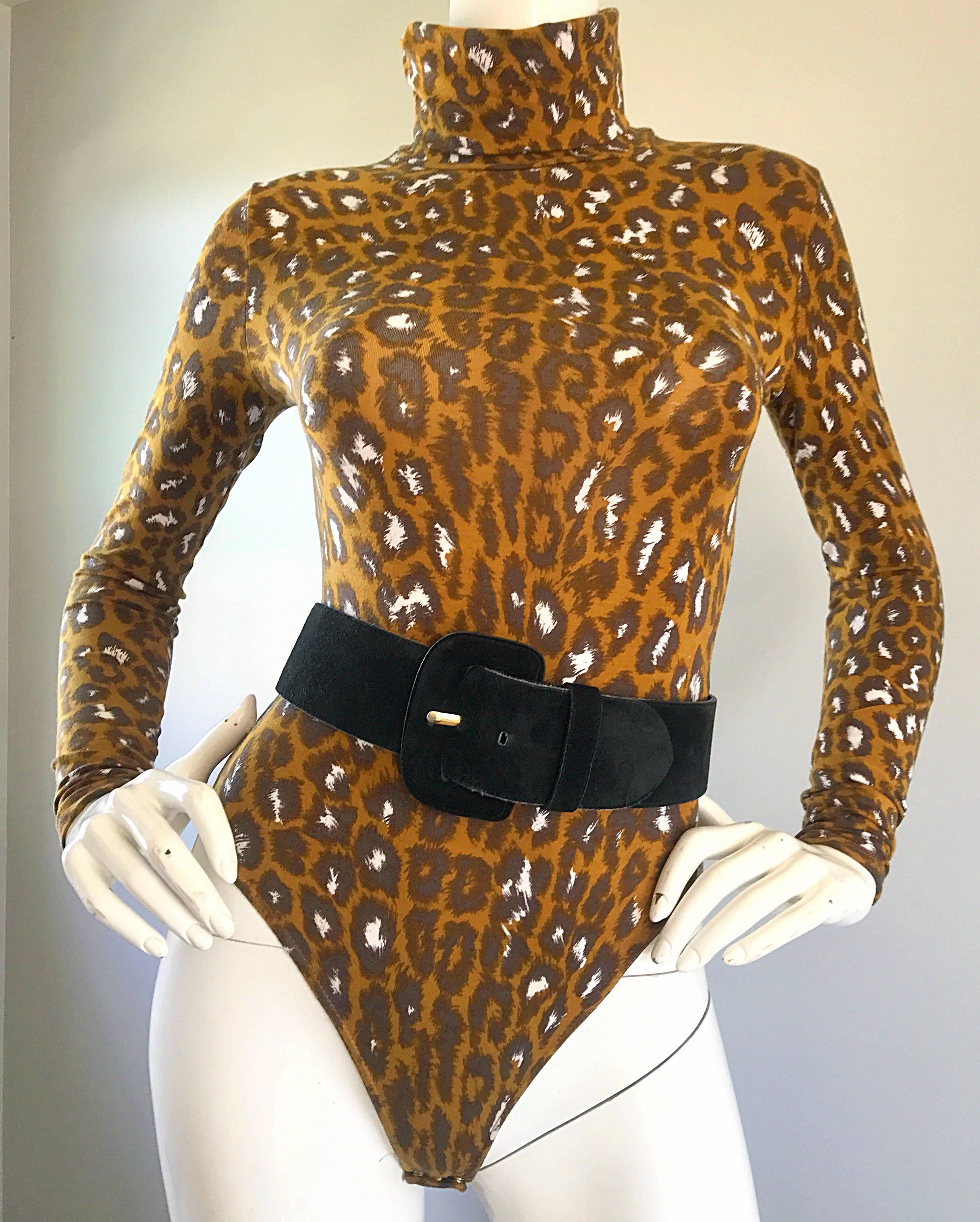 1b471f43332f 1990s Gianni Versace Leopard Print 90s Vintage Turtleneck Bodysuit Unitard  at 1stdibs
