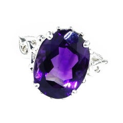 Lovely Oval Amethyst Set in Sterling Silver Ring