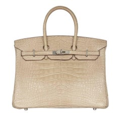 Hermes Poussiere Matte Alligator 35cm Birkin Bag NEW