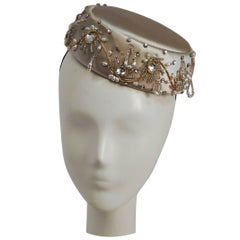 1960s Ivory Satin Beaded Cocktail Hat