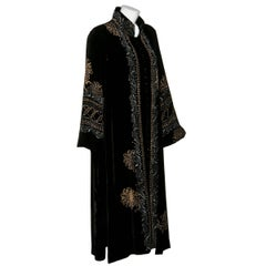 Mary Jane Sarvis Couture Fine Art  Black Silk Velvet Metallic Painted Caftan