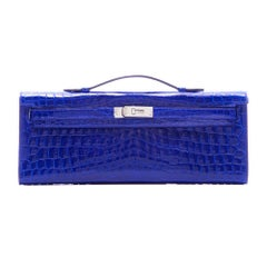 Hermes Electric Blue Kelly Cut Pochette Clutch BRAND NEW