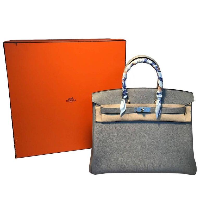 Hermes Custom Made Grey 35cm Togo Birkin Bag, 2017  For Sale