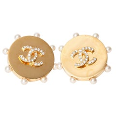 Chanel Vintage Gold Earrings with Pearl Surround