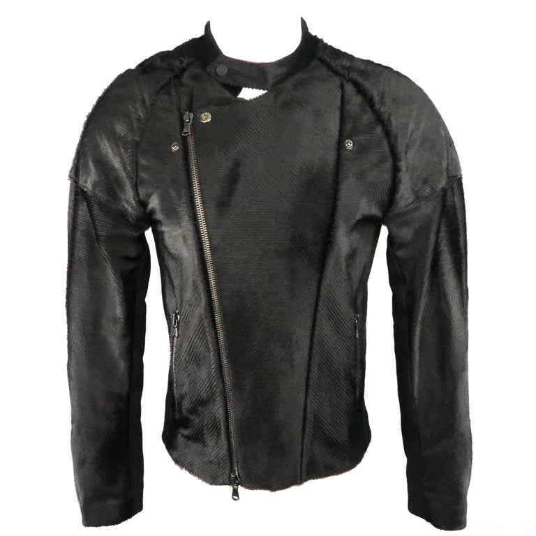 BAJA EAST 40 Black Perforated Ponyhair Leather and Twill Biker Jacket 1