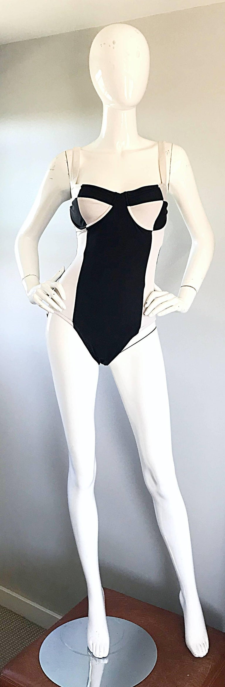 aa0f20795f Vintage BIll Blass Black and White Avant Garde 1990s One Piece Swimsuit  Bodysuit In Excellent Condition