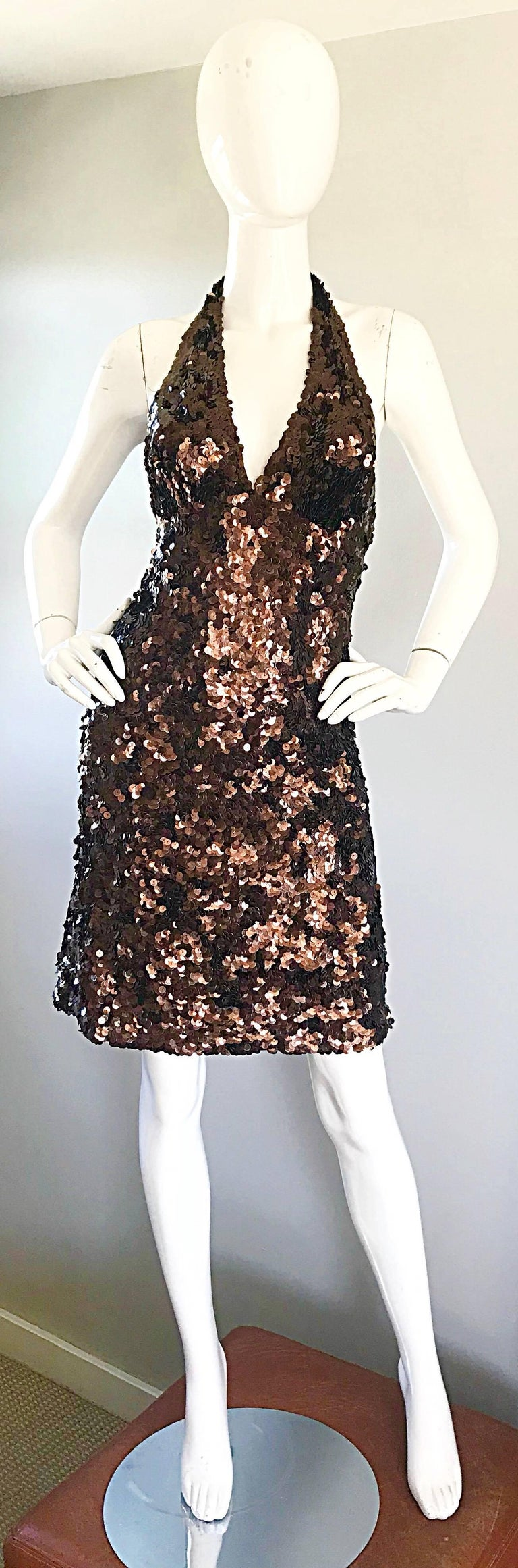 Mikael Aghal Chocolate Brown Sequin Stretch Jersey Sexy Halter ...