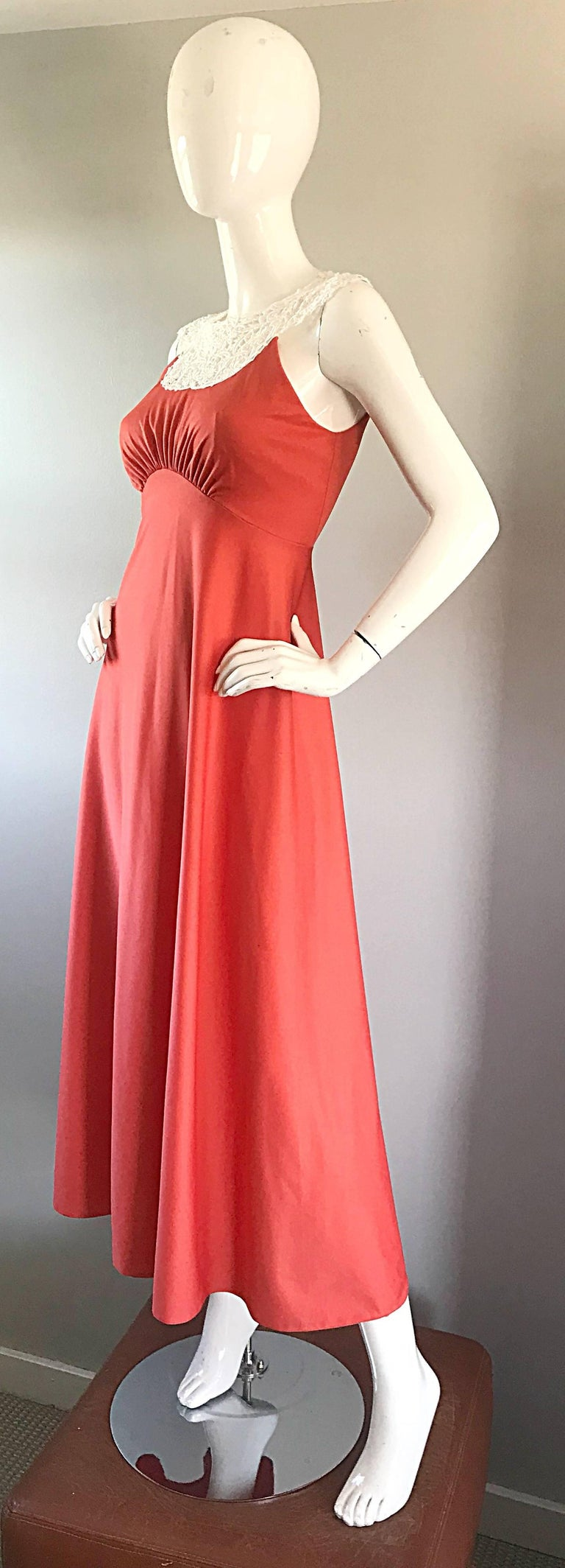 1970s Coral Salmon Pink Jersey + Crochet Lace Collar 70s Vintage Maxi Dress For Sale 3