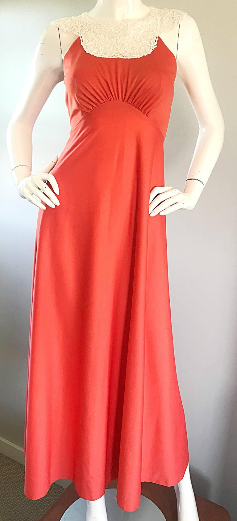 Women's 1970s Coral Salmon Pink Jersey + Crochet Lace Collar 70s Vintage Maxi Dress For Sale