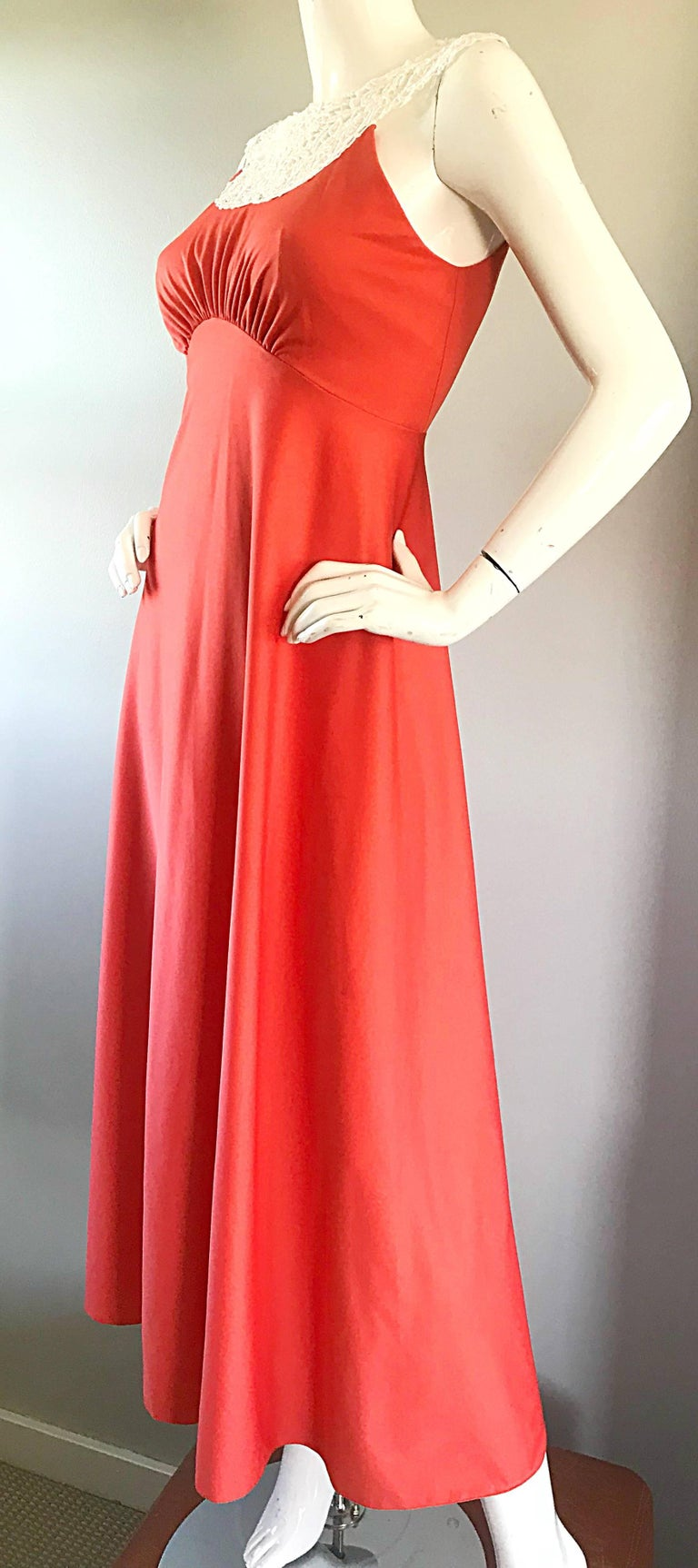 1970s Coral Salmon Pink Jersey + Crochet Lace Collar 70s Vintage Maxi Dress For Sale 2