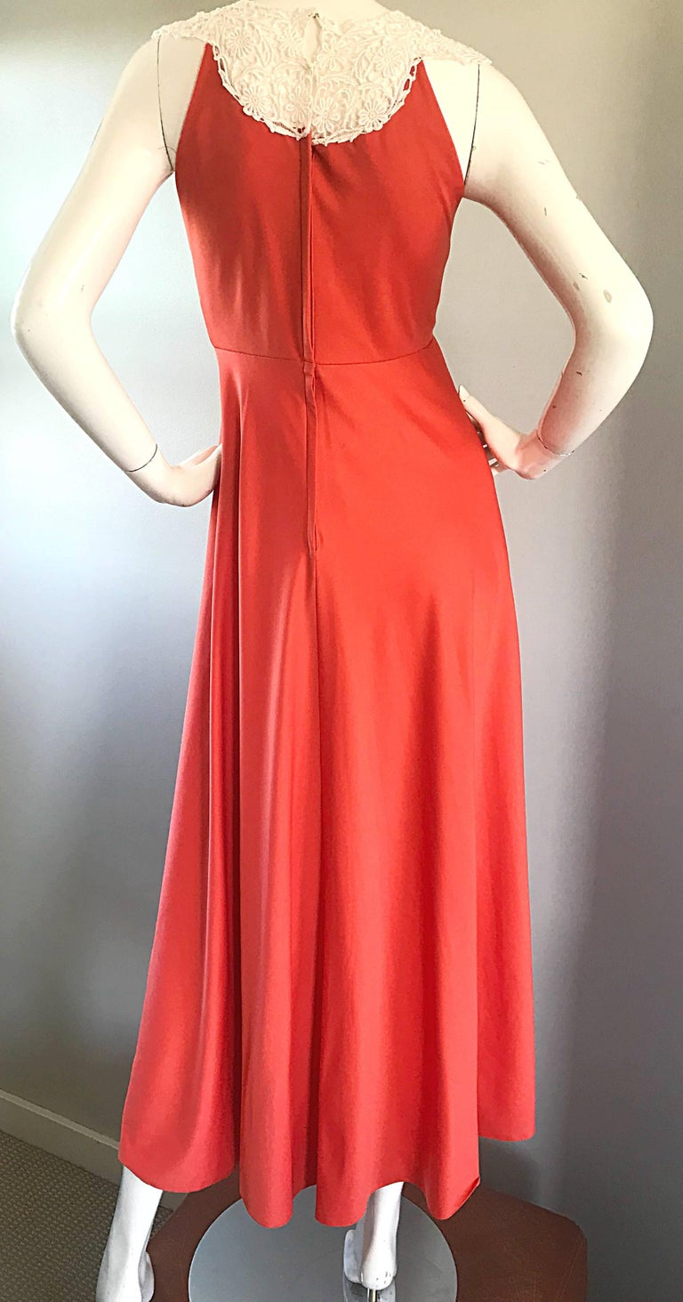 1970s Coral Salmon Pink Jersey + Crochet Lace Collar 70s Vintage Maxi Dress For Sale 5